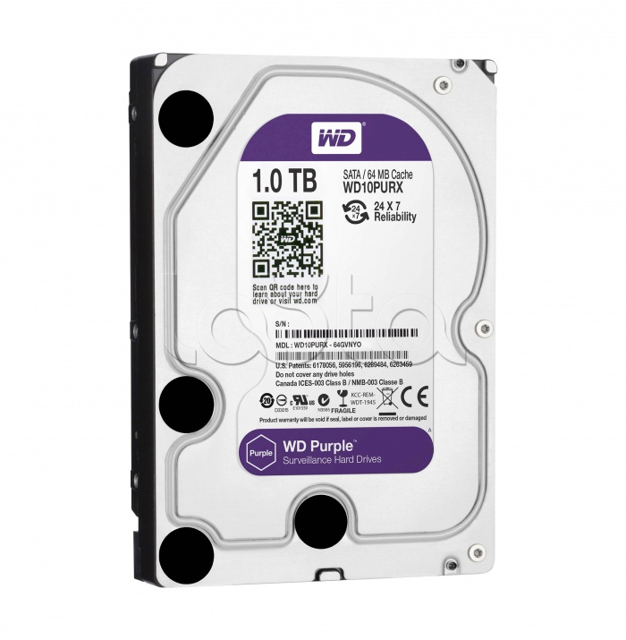 "Жесткий диск Western Digital Purple HDD 1 Tb SATA-III 3.5"" WD10PURX"
