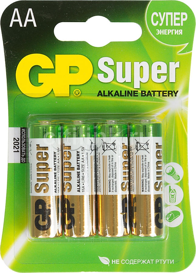 Батарея GP Super Alkaline 15A LR6, 4 шт. AA
